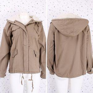 Fur lined Hooded Utility Military Jacket Khaki